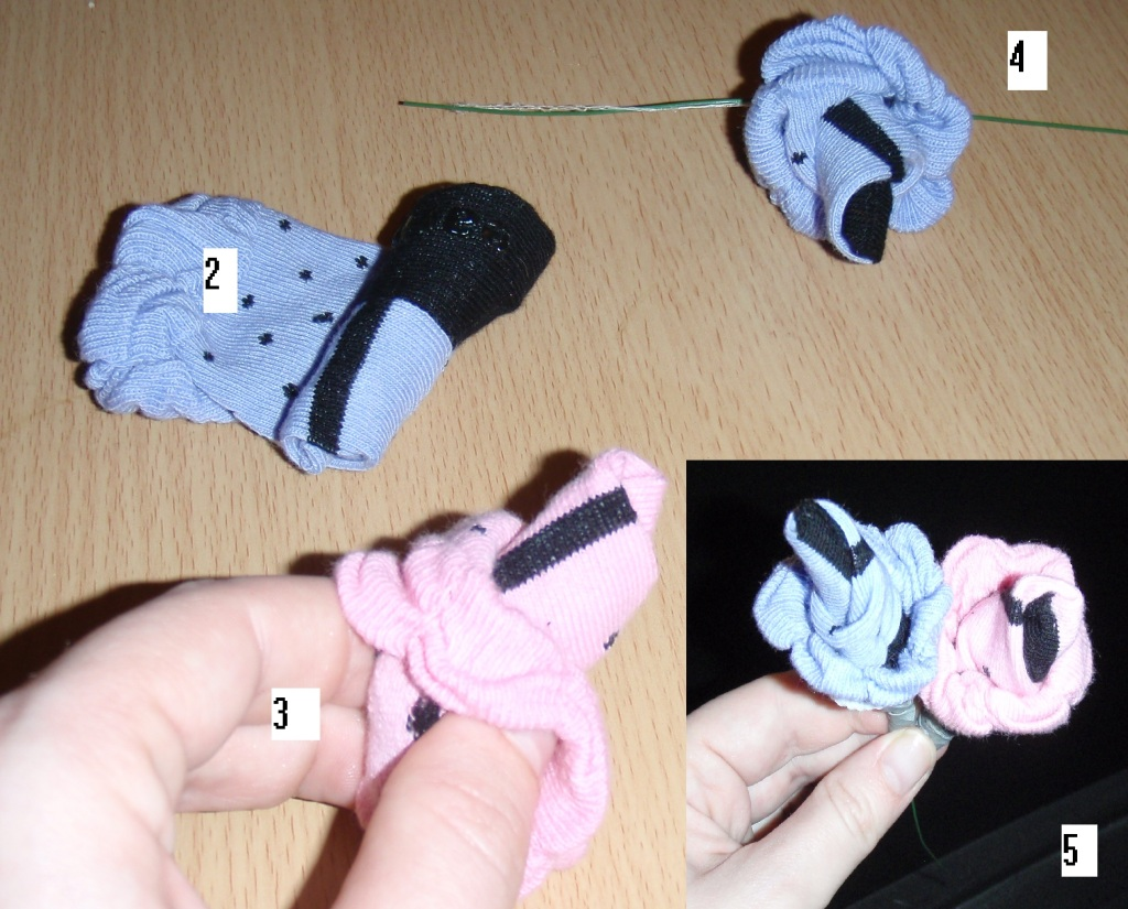 Step by step instructions to make a baby sock bouquet