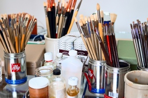 Artist Studio, with paintbrushes, illustrating the right to create.  Photo: See-ming Lee