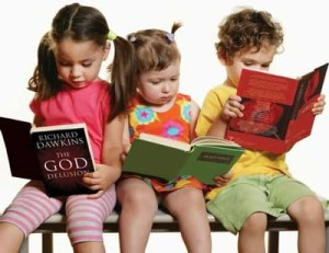 Children reading adult books
