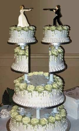 Divorce cake, with separate bride and groom.  Photo: DrJohnBullas