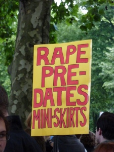 Rape Pre-dates miniskirts - banner at a slutwalk.  Photo: cathredfem