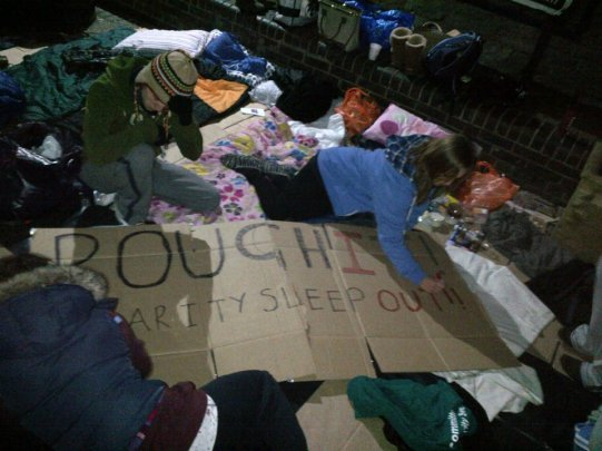 Rough It Charity sleepout at the university of Sheffield 2012