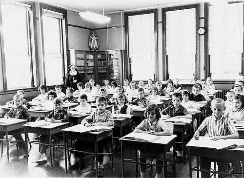 Nun with 1960's Catholic Schoolchildren.  Photo: Vin Crosbie